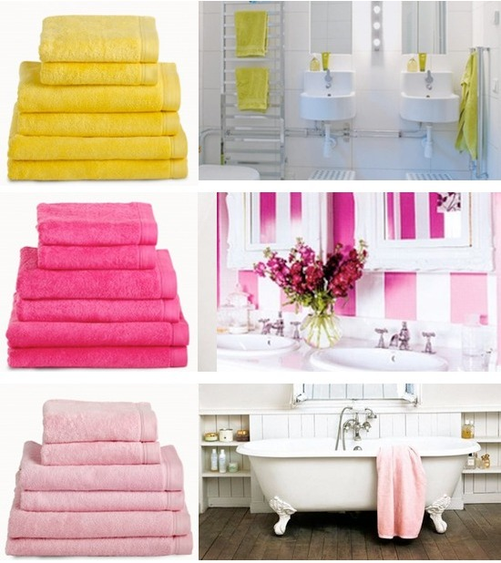 linge de bain en couleur pour salle de bain vitamin e mademoiselle d co blog d co. Black Bedroom Furniture Sets. Home Design Ideas
