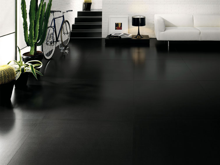 Salon carrelage noir brillant