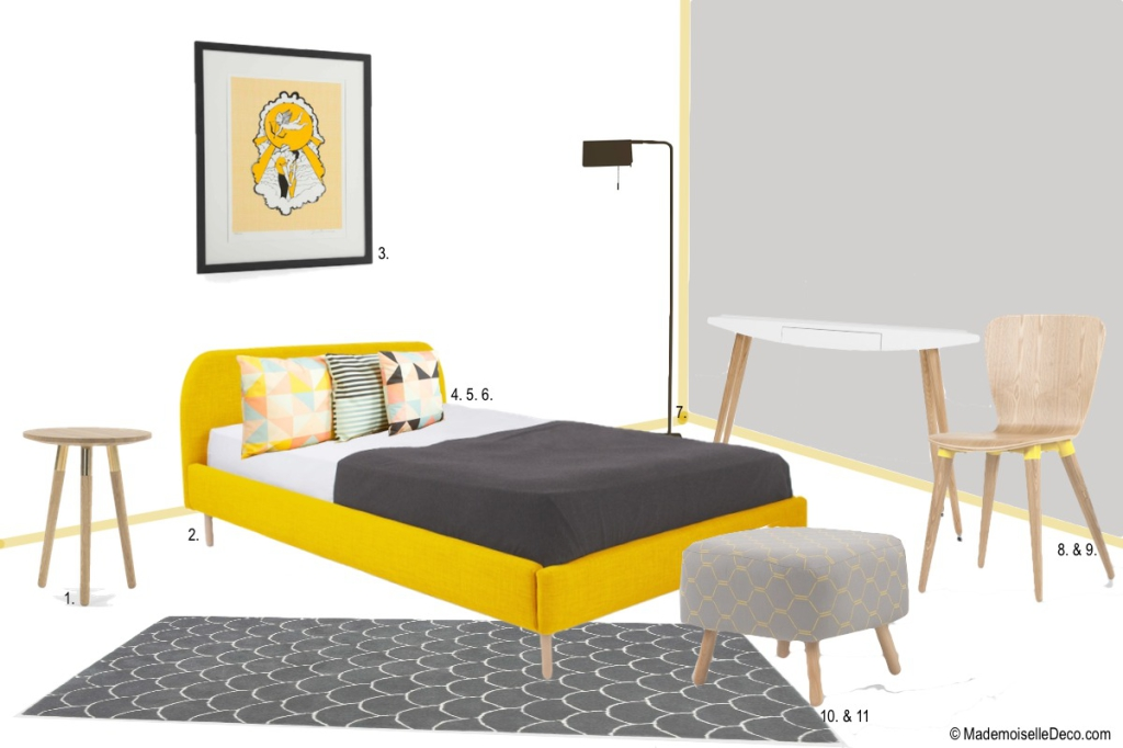 chambre jaune et grosses dents sur mademoiselle d co blog d co. Black Bedroom Furniture Sets. Home Design Ideas