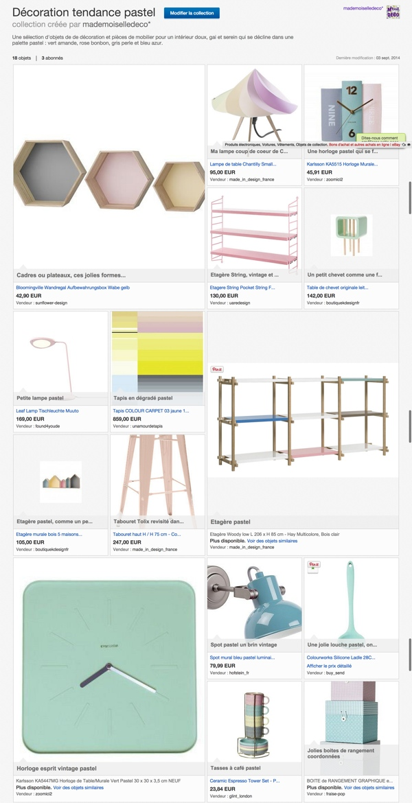 Ebay collection de décoration pastel par Mademoiselle Déco